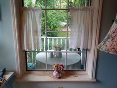 Cafe Curtains, White Curtains, Yellow Placemats, Lace Curtain Panels, White Cafe, Vintage Curtains, Window Hanging, Close To Home, Blue Quilts