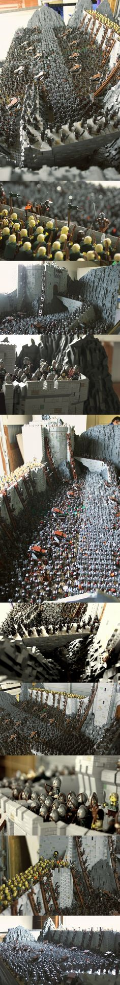 Lord of the Rings, Helm's Deep - About 150 000 bricks and total 1700 minifigures. It weight about 160 pounds and ping-pong table size (24 grey 48X48 base plate). #LEGO #LOTR