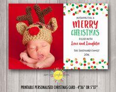 Christmas Photo Card Fun Gold Faux Foil, Red, Green Confetti