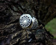 Black Sun (Sonnenrad) Mammen Style Viking Ring Sterling Silver Scandinavian Norse Viking Jewelry by BerlogaWorkshop on Etsy