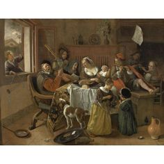 The Merry Family - Jan Steen 1668 - Steen's scenes of alchohol-fuelled merriment, underpinned with warnings about the dangers of profligacy were as much a part of the the Dutch Golden Age as Vermeer's dreamy girls, and Rembrandt's formal portraits. Oil On Canvas, Canvas Art, Canvas Prints, Art Prints, Dutch Artists, Great Artists, Georg Trakl, Tableaux Vivants, Dutch Golden Age