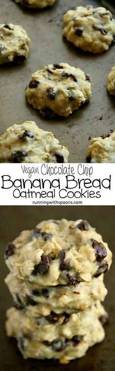 Vegan Chocolate Chip Banana Bread Oatmeal Cookies--deliciously soft and chewy cookies that contain NO eggs or butter! How can that be true? Get the recipe and see for yourself. One of our favorite vegan desserts! Vegan Treats, Vegan Foods, Vegan Dishes, Cookies Vegan, Healthy Cookies, Vegan Cupcakes, Vegan Snacks, Paleo Diet, Chocolate Chip Banana Bread