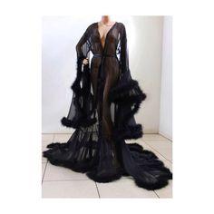Luxury Sheer Fur Robe Lingerie Jet Black/ Fur trimmed robe with satin ties/ bridal robe / wedding robe / feather robe Sexy Lingerie, Lingerie Outfits, Bridal Lingerie, Luxury Lingerie, Plus Size Lingerie, Beautiful Lingerie, Designer Lingerie, Bridal Robes, Vintage Lingerie
