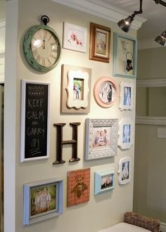 Wall picture gallery- Really think it works having the mismatched colours and shapes of frame