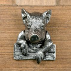 Pig Door Knocker - Antique Pewter by Whittington Collection, http://www.amazon.com/dp/B003MAR94U/ref=cm_sw_r_pi_dp_rZBFqb1CT7G8Y