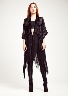Velvet Fringe Kimono Black Rose Baby by shevamps on Etsy