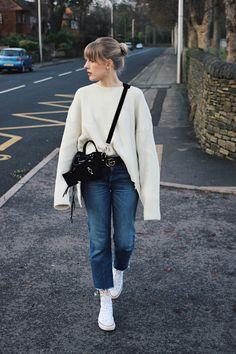 Gucci GG Belt, Balenciaga Mini City, Sweater, converse and denim on uk fashion blog Lurchhoundloves Charlotte Buttrick