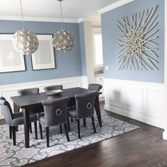 Our best dining room paint colors ideas and inspiration. Uncover inspiration and choose a color to enhance your room decor Dining Room Paint Colors, Dining Room Blue, Dining Room Walls, Dining Room Design, Living Room Decor, Dining Area, Kitchen Colors, Dinning Room Wall Decor, Bedroom Colors
