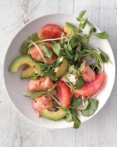 This satisfying salad combines crisp greens, such as watercress or sunflower shoots, with jucy citrus, rich avocado, and silky salmon. Plus it has three sources of heart-healthy fat.