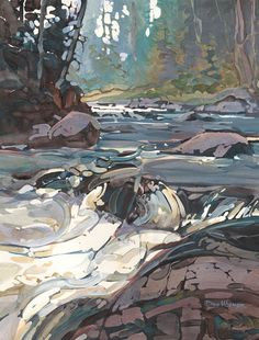 Northern River - acrylic and watercolour by Dan Wiemer Impressionist Landscape, Watercolor Landscape, Landscape Art, Landscape Paintings, Watercolor Paintings, Oil Paintings, Impressionism, Art And Illustration, Waterfall Paintings
