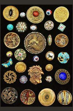 Beautiful antique buttons display.