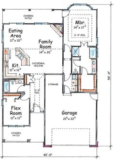 One Bedroom House Plans, Guest House Plans, Small House Floor Plans, Garage House Plans, House Plans One Story, Dream House Plans, Car Garage, Retirement House Plans, Retirement Ideas