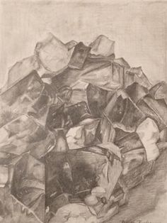 Elemental graphite drawing of amethyst crystal ap art studio
