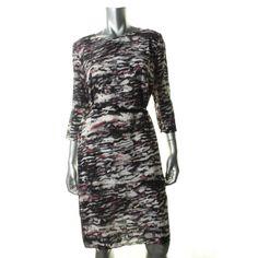 HUGO BOSS NEW Multi Silk Abstract Print 3/4 Sleeve Wear to Work Dress 12 BHFO