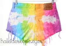 LEVIS 501 Colorful Rainbow TIE DYE Dyed Denim High Waist Shorts