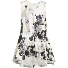 Lela Rose Paneled silk peplum top (14 820 UAH) ❤ liked on Polyvore featuring tops, dresses, white peplum top, peplum tops, lela rose, white top and woven top
