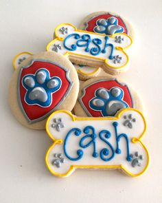 paw patrol cookies, dog bone cookies