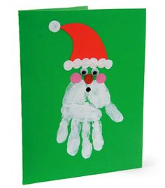 handprint wreaths easy to do crafts for kids | hand-print-santa-card-christmas-craft-photo-420-FF0108CARDA07
