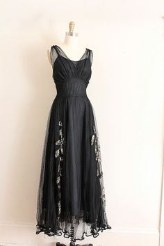 vintage evening dresses from the 1930's | Vintage black evening dress with gold sequins c. 1930s
