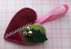 Christmas Tree Decorative Hanging - Fragranced Felt Bauble - Felt Patchwork Heart. £3.00, via Etsy.