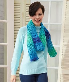 Jazzy Striping Scarf from Red Heart Yarns