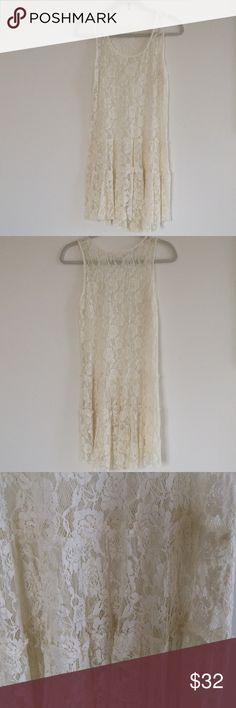 LACE TRAPEZE DRESS🌟 Beautiful lace tiered dress with slight hi/low hem🌟WORN ONCE🌟tag removed so didn't show thru sheer lace Free People Dresses High Low