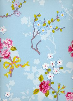 Chinese Rose -tapetti Vaaleanpunainen ja -sininen Colore
