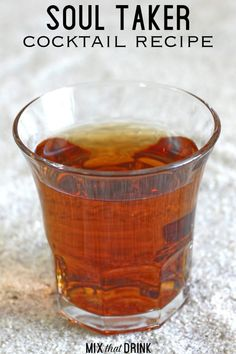 The Soul Taker is a potent little shot drink featuring vodka, tequila and amaretto. This cocktail is smooth, sweet and easy to love. Amaretto Drinks, Bourbon Cocktails, Vodka Cocktails, Cocktail Recipes, Fun Drinks, Yummy Drinks, Alcoholic Drinks, Refreshing Drinks, Tequila Mixed Drinks