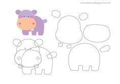 Amigas do Feltro! Hippo felt, flodhest i filt Animal Templates, Felt Templates, Applique Templates, Card Templates, Felt Animal Patterns, Stuffed Animal Patterns, Felt Diy, Felt Crafts, Erica Catarina