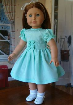 Mint Moire Party Dress made for Miss Emily by Keepersdollyduds Sewing Doll Clothes, Girl Doll Clothes, Girl Dolls, Ag Dolls, Barbie Clothes, My American Girl Doll, American Doll Clothes, Dresses Kids Girl, Girl Outfits