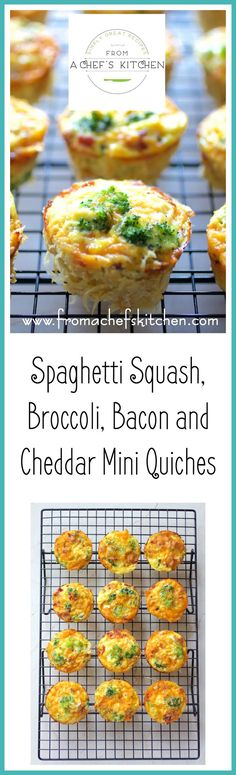 Spaghetti Squash Broccoli Bacon and Cheddar MIni Quiches are going to breathe new life into your breakfast world with barely a carbohydrate in sight!