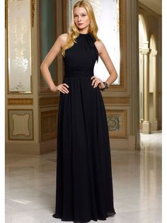 A Line High Neck Floor Length Long Black Chiffon Bridesmaid Evening Prom