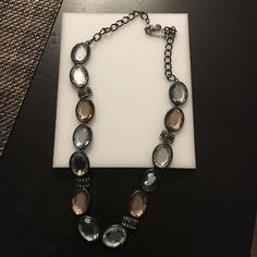 Hematite statement necklace Gorgeous statement necklace! Clear and rose stones with metal hematite. Close up picture of stones. Jewelry Necklaces