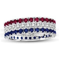 Suzy Levian 14K White Gold Set of 3 Diamond Ruby Sapphire Eternity Band Ring (Size 9), Women's, Blue