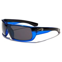 Choppers Mens Riding Driving Sports Biker Sunglasses Black and Blue with Gray Lens
