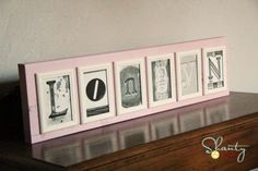 Free photo letters. There are literally hundreds of each letter. You simply download for FREE and print from your own printer.  Cute for a last name in the entryway