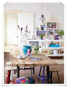 kleurrijke industriele woonkamer