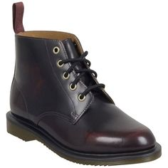 Dr. Martens Women's Emmeline Boot ($130) ❤ liked on Polyvore featuring shoes, boots, burgundy, faux leather boots, ankle boots, leather boots, lace up boots and leather ankle boots
