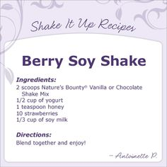 Berry soy shake recipe, gotta try this!