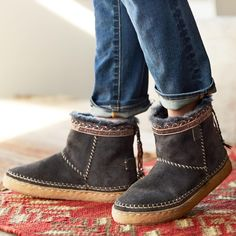 NAYALI BOOTS--Preserving ancient skills and craftsmanship, these artisan-made boots by Laidback London capture the joy of creation in sublimely comfortable shearling suede with treaded soles. Imported. Euro whole sizes 36 to 41. 36 (US 6), 37 (US 7), 38 (US 8), 39 (US 9), 40 (US 10), 41 (US 11).