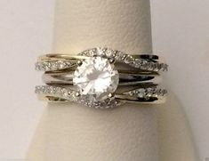 14kt Yellow Gold Wave Ribbon Style Solitaire Enhancer Diamonds Ring Guard Wrap Jacket (0.35ct. tw) by RG&D