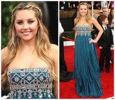Amanda Bynes was picture perfect in a stunning teal blue Marchesa Resort 2008 embellished strapless gown.  <3 her hairdo!