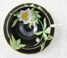 Vintage Black Tea Cup and Saucer By Tuscan China, Hand Painted Flower, Bone China