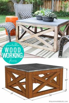 Get ready for outdoor entertaining by building this DIY Square Wood Coffee Table (Indoor or Outdoor) Woodworking Plans via shop. diy for beginners plans tips tools Outdoor Furniture Plans, Woodworking Furniture Plans, Handmade Outdoor Furniture, Diy Outdoor Wood Projects, Diy Living Room Furniture, Outdoor Wood Furniture, Woodworking Store, Woodworking Patterns, Farmhouse Furniture