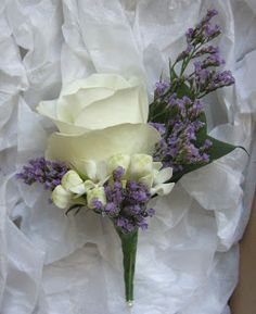 Replace white rose with red rose, keep white accent, use lavender and eucalyptus