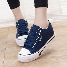 Online Shop Women Vulcanize Shoes 2018 Fashion Lace-up Solid Breathable Women Casual Shoes Ladies Canvas Shoes Female Footwear Fancy Shoes, Trendy Shoes, Cute Shoes, Ladies Casual Shoes, Girls Sneakers, Casual Sneakers, Girls Shoes, Shoes Women, Footwear For Girls