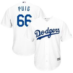 2303e599639 Yasiel Puig LA Dodgers Majestic Official 2015 Authentic Collection Cool Base  Home Player Jersey