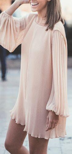 Nude mini dress.