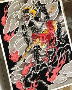 Irezumi Tattoos, Samurai Tattoo, Yakuza Tattoo, Leg Tattoos, Japanese Design, Japanese Art, Traditional Japanese, Japanese Back Tattoo, Foo Dog Tattoo