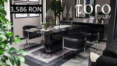 Lux și rafinament sunt doua cuvinte care definesc perfect diningul Oscar, parte a colecției #TORO Luxury.  Rezervari si comenzi: 0746 661 384    Prețuri Oscar dining:  1 masa - 3,586 RON  1 bufet- 5,187 RON  1 oglinda- 954 RON  1 scaun- 963 RON  Set: 1 masa + 4 scaune + 1 bufet cu oglinda= 13,387 RON